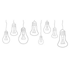 linear of hanging light bulbs border vector image