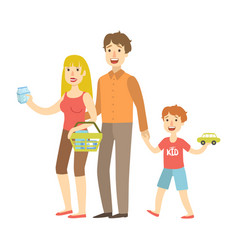 mom dad and son holding toy car shopping vector image