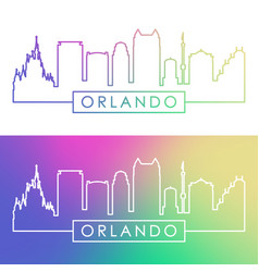 orlando skyline colorful linear style vector image vector image