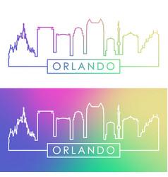 Orlando skyline colorful linear style vector