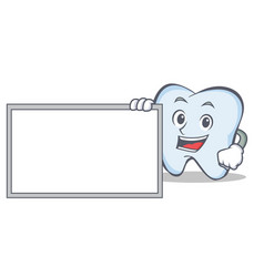 pose with board tooth character cartoon style vector image vector image