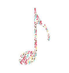 Quaver note color silhouette formed by musical vector