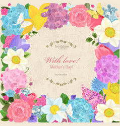 Romantic invitation card with different spring vector