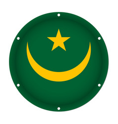 Round metallic flag of mauritania with screw holes vector