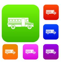 School bus set collection vector