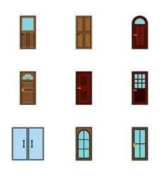 Security doors icons set flat style vector