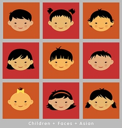 set cute faces Asian children flat style vector image