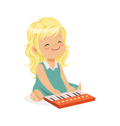 Sweet blonde little girl playing piano young vector