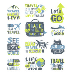 Travel motivation badge logo vector
