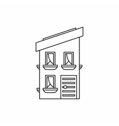 Two storey house with a sloping roof icon vector