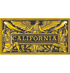 Vintage california label plaque black and gold vector