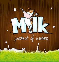 Design with milk cow wood and grass vector
