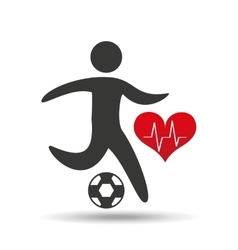 Athlete silhouette football heart beat graphic vector