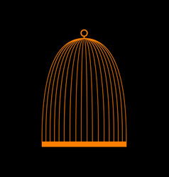 bird cage sign orange icon on black background vector image