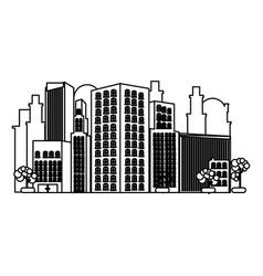 monochrome contour of city landscape vector image