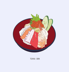 Tekka don shetch japanese food vector