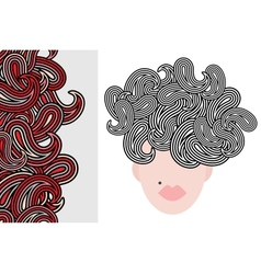 Seamless vertical pattern and woman with hair vector