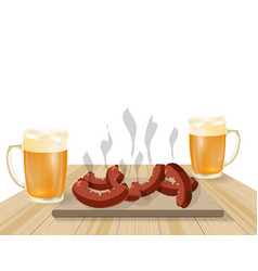 Festival of beer light beer in mugs fried dishes vector