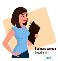 Young cartoon business woman with file in left vector