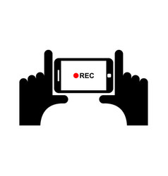 Horizontal video sign hand and smartphone to vector