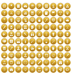 100 lab icons set gold vector