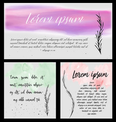 Watercolor and ink banners vector