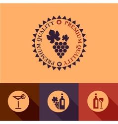 flat wine menu icons set vector image