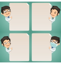 Doctors cartoon characters looking at blank poster vector