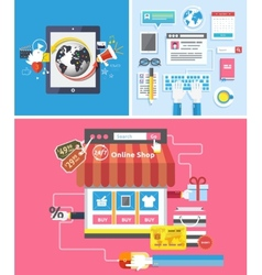 Online shop social media and seo optimization vector