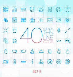40 trendy thin icons for web and mobile set 9 vector