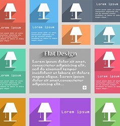 Lamp icon sign set of multicolored buttons metro vector