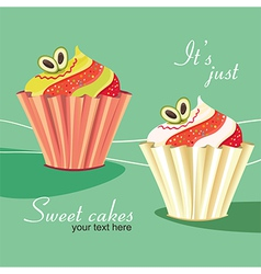 Sweet cakes on mint background vector