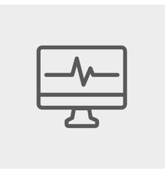 Heart beat display in monitor thin line icon vector