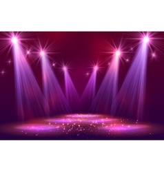 Spotlights on stage with smoke light vector