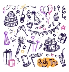 Birthday party doodle pictograms collection vector