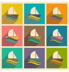 Set of flat icons with long shadow boat sailboat vector