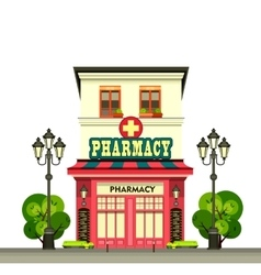 Urban apothecary building vector