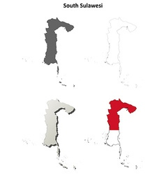 South sulawesi blank outline map set vector