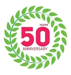 Template logo 50 anniversary in laurel wreath vector
