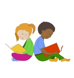 Children reading books boy and girl learning vector