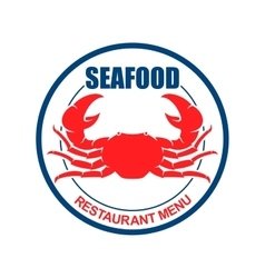 Crab on a plate retro icon for seafood menu design vector