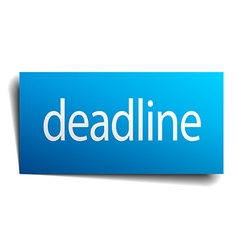 Deadline blue square isolated paper sign on white vector