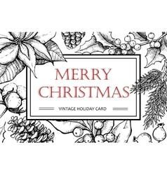 Merry Christmas hand drawn vintage vector image