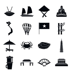 Vietnam travel icons set simple style vector