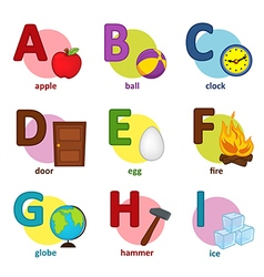 Alphabet english from a to i vector