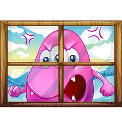 An angry pink monster outside the window vector