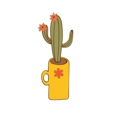 Cactus plant in a vase vector image