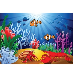Cartoon sealife background vector image vector image