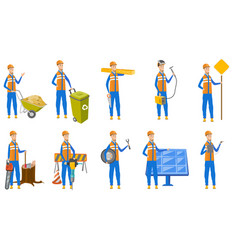 caucasian builder set vector image
