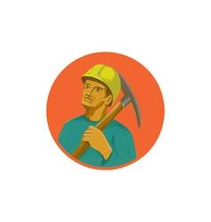 Coal miner pick axe circle watercolor vector